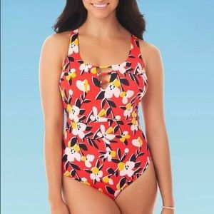 NWT Beach Betty Red Floral One Piece swimsuit